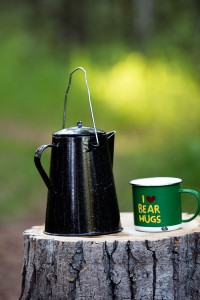 kettle and cup on a stump