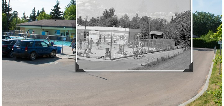 blend of 1960's and current pool photo