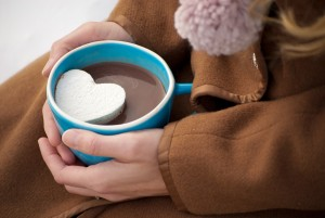 heart shapped marshmallow in hot chocolate
