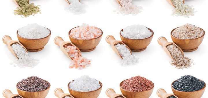 collection of different types of salt isolated on white background
