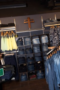 shelving unit full of jeans