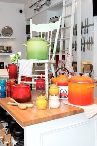 colourful cookware on table and chair