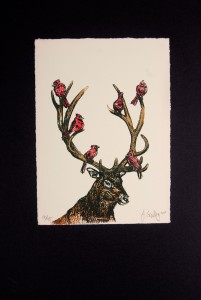 Gocco-screenprinted Elk Print (signed & numbered), by Nature's My Friend, $20 Etsy shop: naturesmyfriend