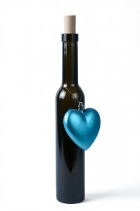 Bottle of ice wine with ornament