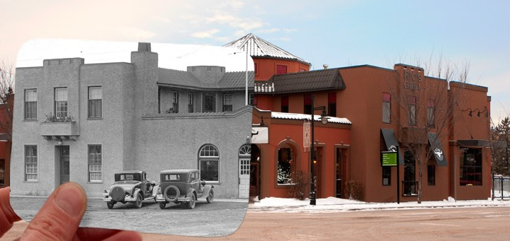 split photo of current and old Bruin inn complex