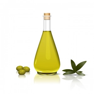 bottle of olive oil, with an olive